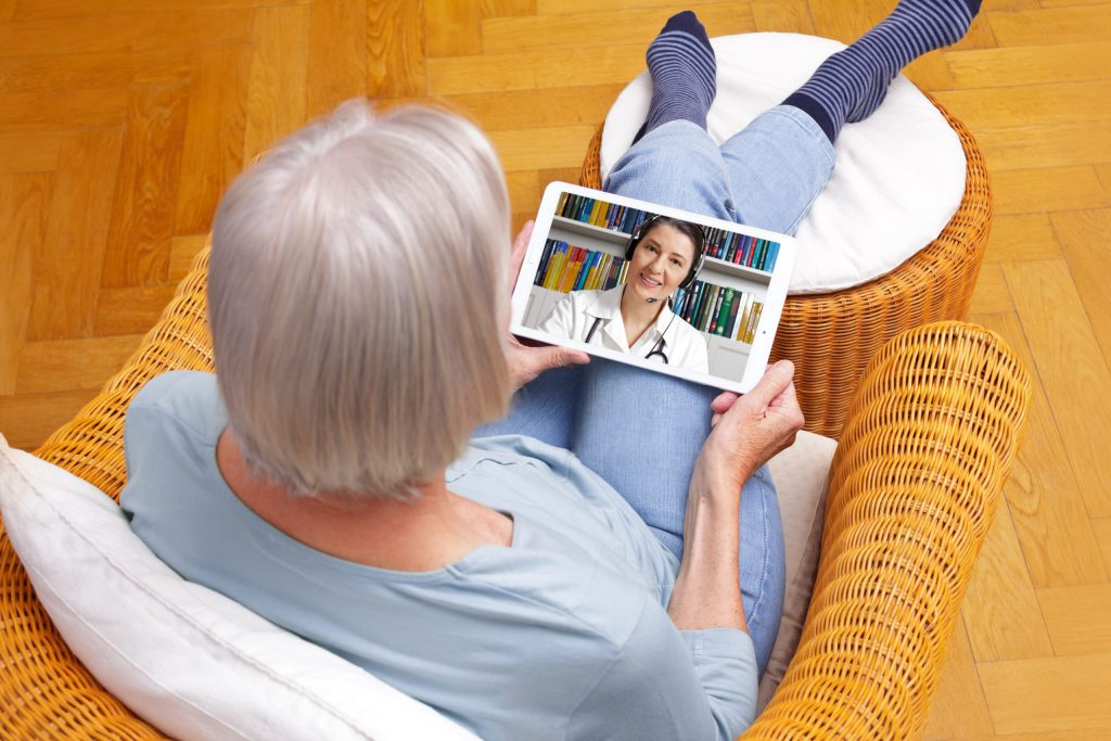 telemedicine senior woman tablet computer