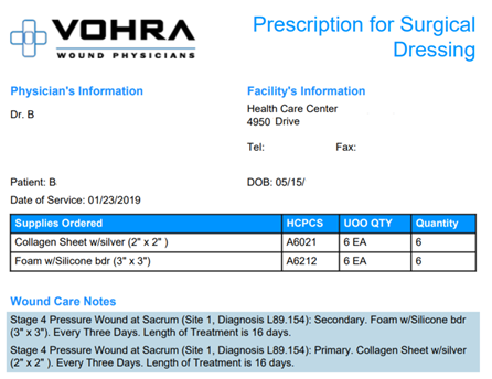 Prescription for Surgical Dressing